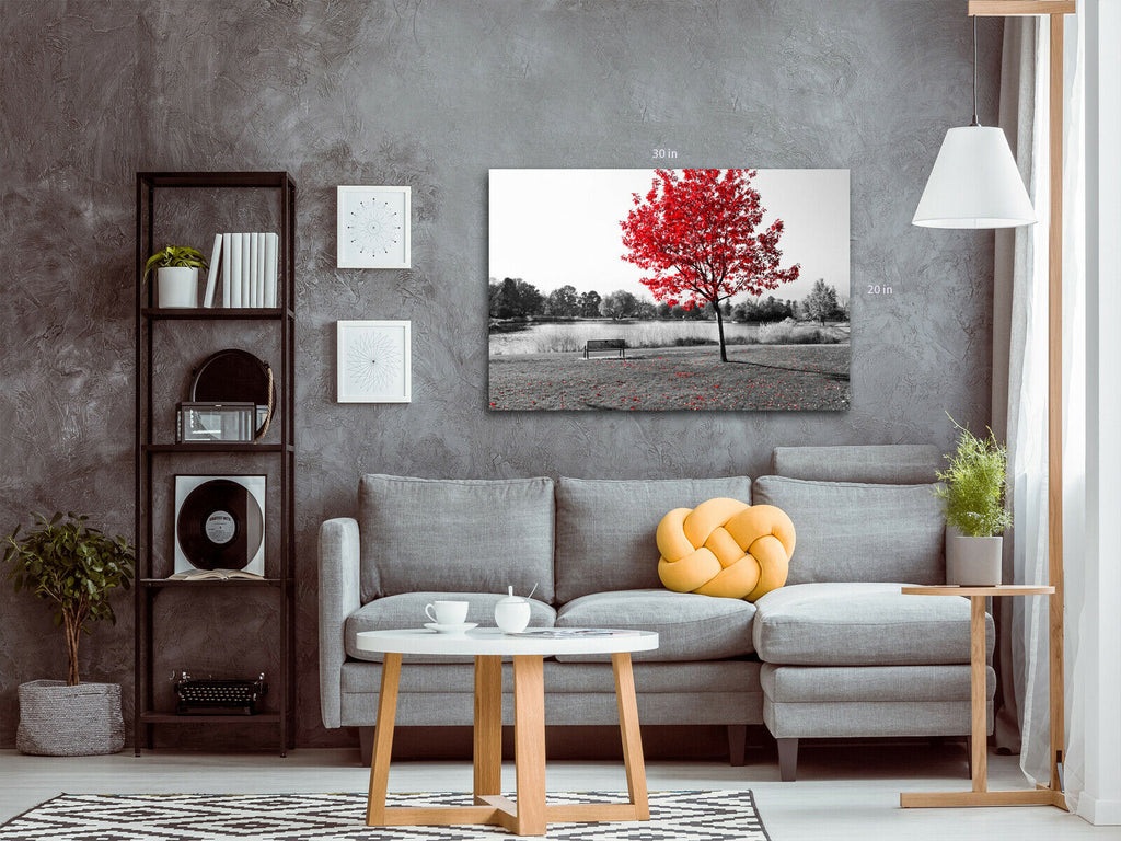 Red Tree leaf Black and White Canvas Wall Art Picture Print
