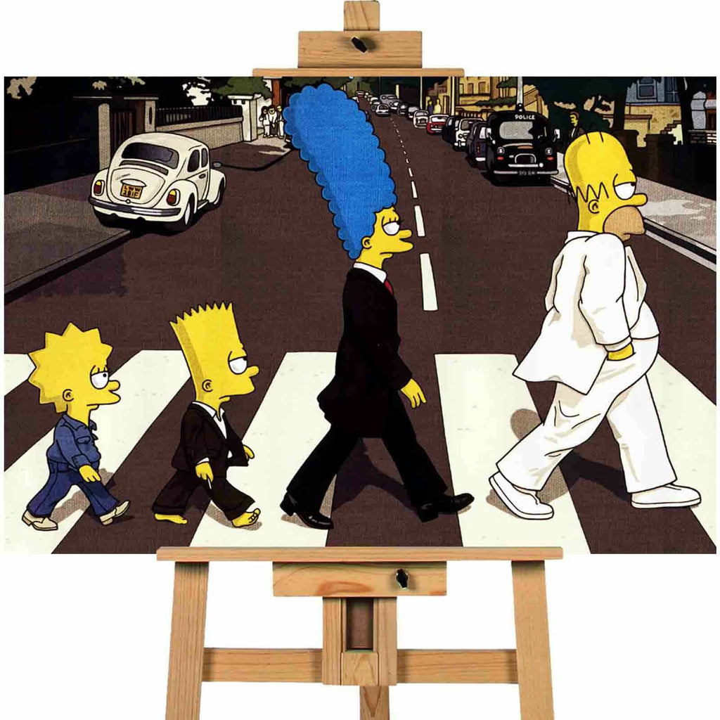 Simpsons Beatles crossing zebra canvas wall art print