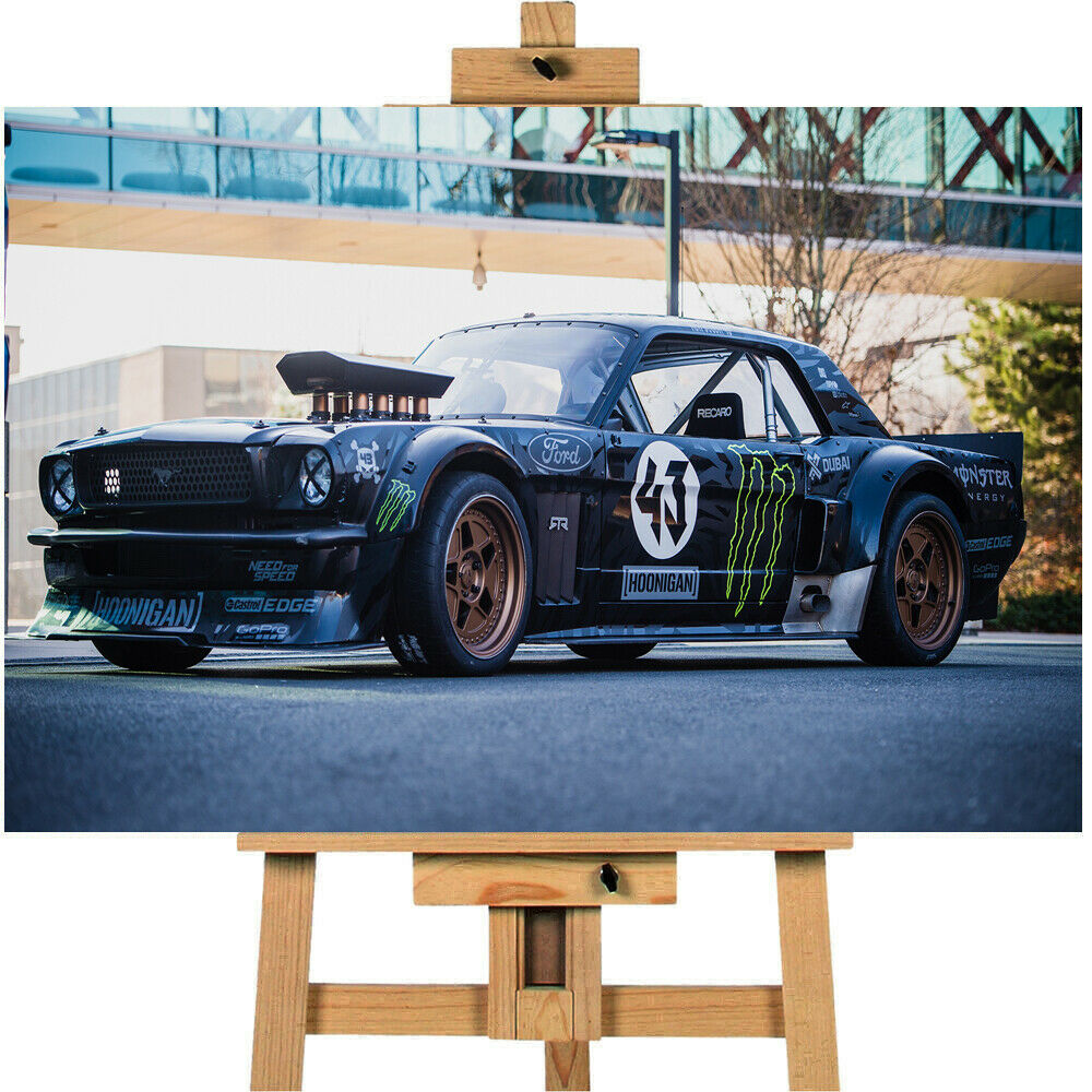 Ken Block Ford Mustang Drifting Canvas Print Wall Art Picture