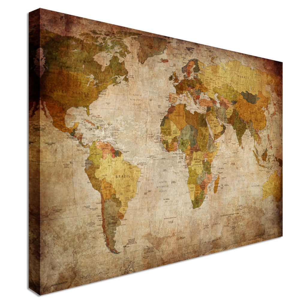 Retro Vintage Map Country Names Canvas Wall Art Picture Print