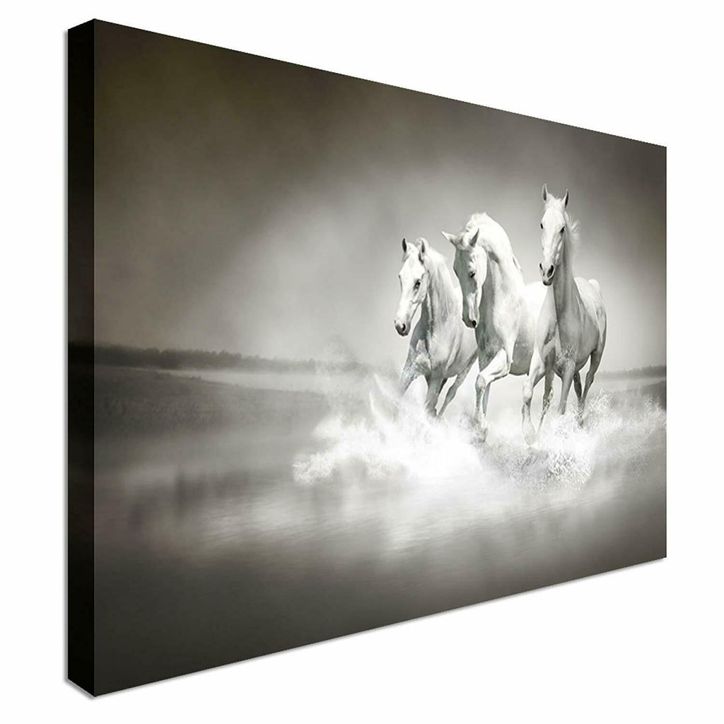 White Horses Running Canvas Wall Art Picture Print