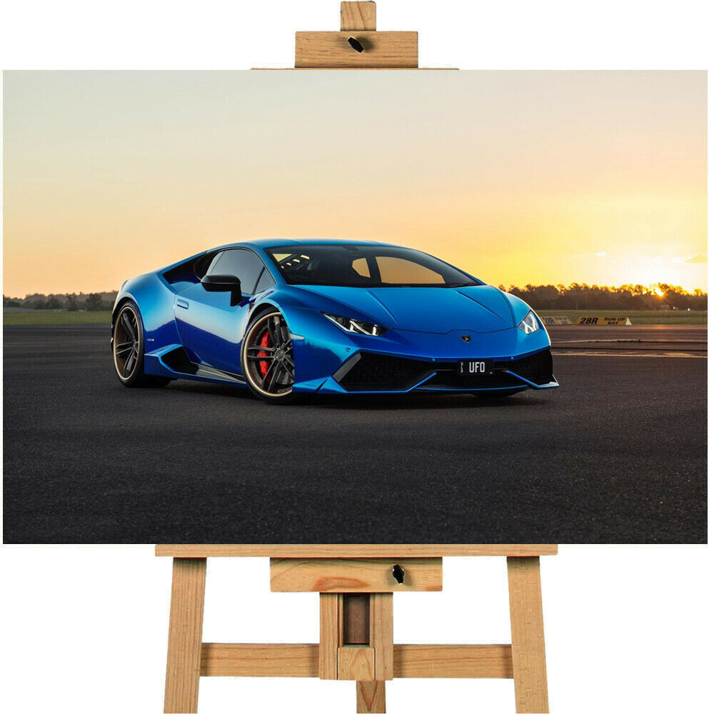 Blue Chrome Lamborghini Huracan Super Car Canvas Print Wall art