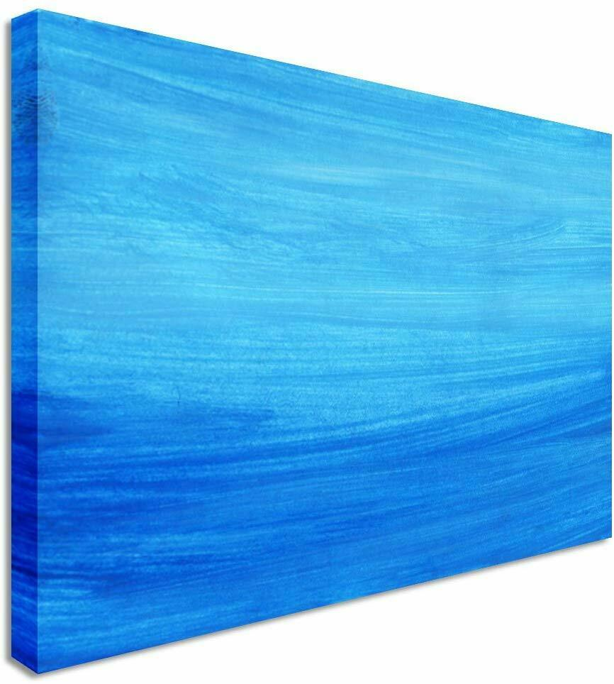 Abstract Painting Blue Canvas Wall Art Picture Print