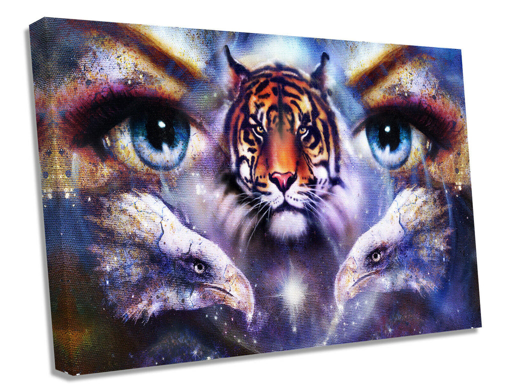 Tiger Lady Purple Canvas Wall Art Picture Print