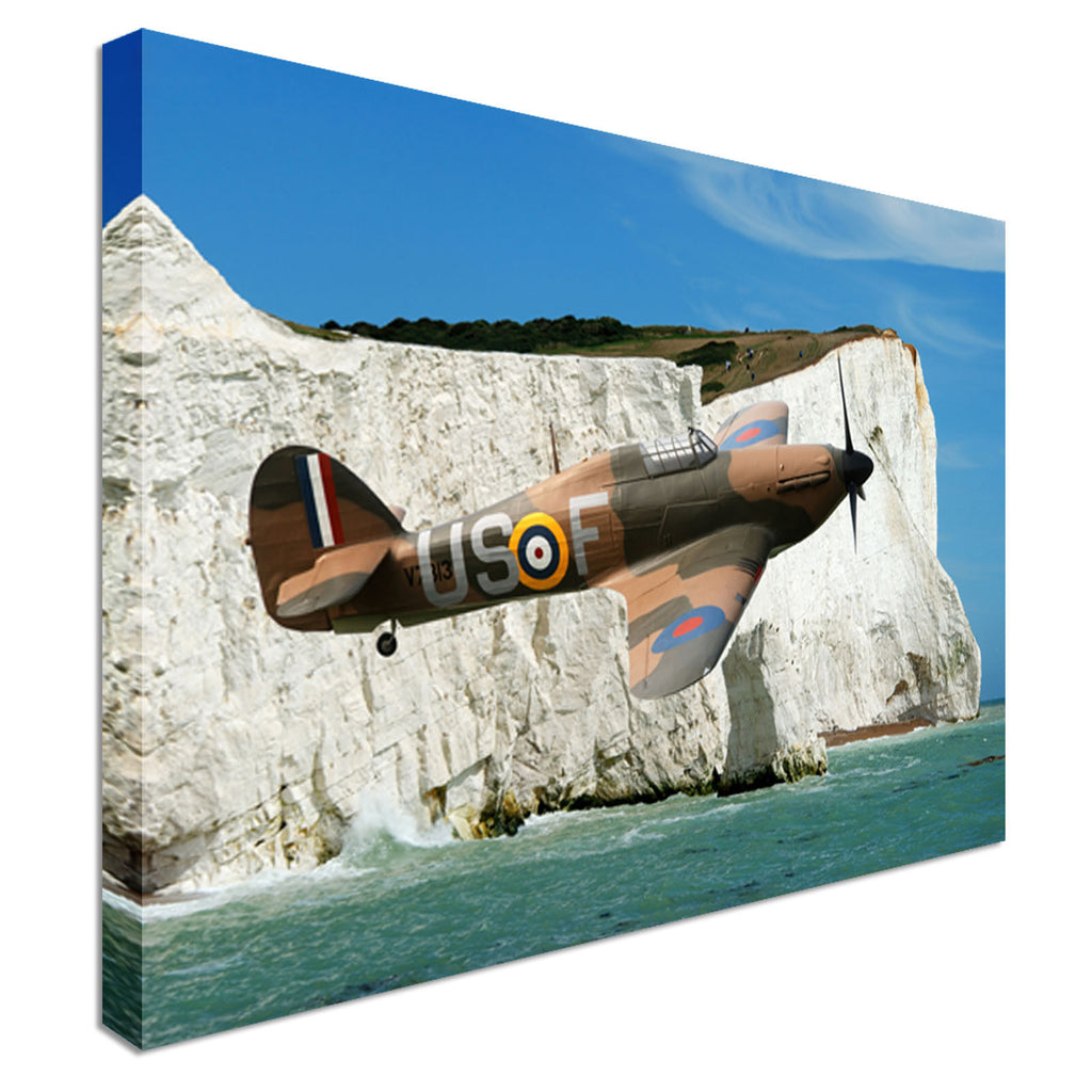 Hawker Hurricane Cliffs Of Dover Canvas Wall Art Picture Print