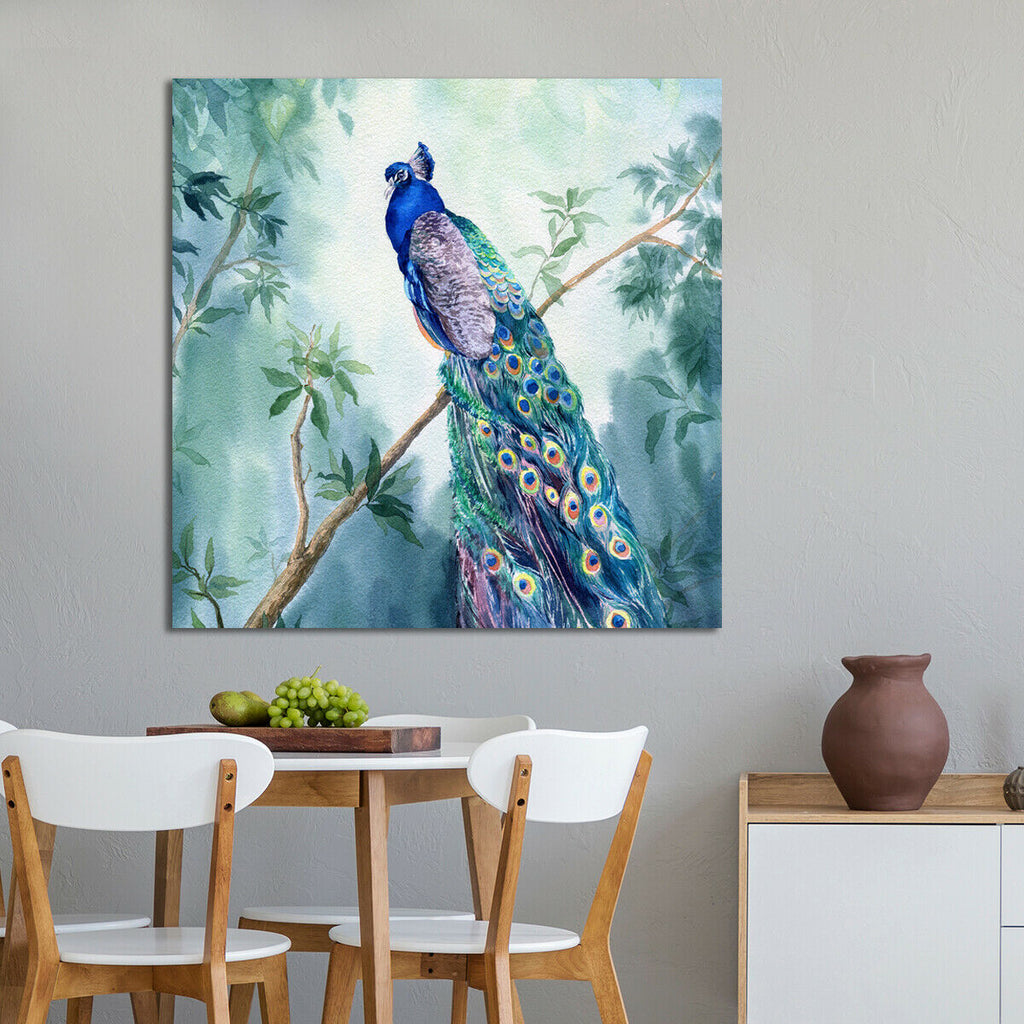 Hand drawn watercolor  Paradise peacock garden Canvas Wall Art Picture Print