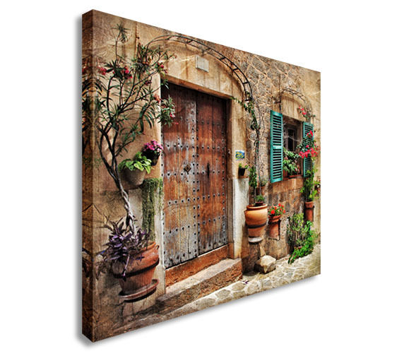 Streets of old mediterranean towns Canvas Wall Art Picture Print