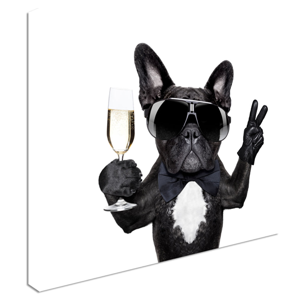 Champagne drinking Dog Cool  Canvas Wall Art Picture Print