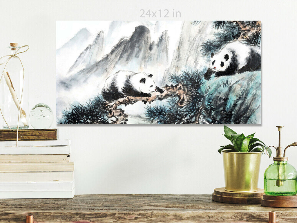 Chinese landscape painting with pandas  Panoramic Canvas Wall Art Picture Print