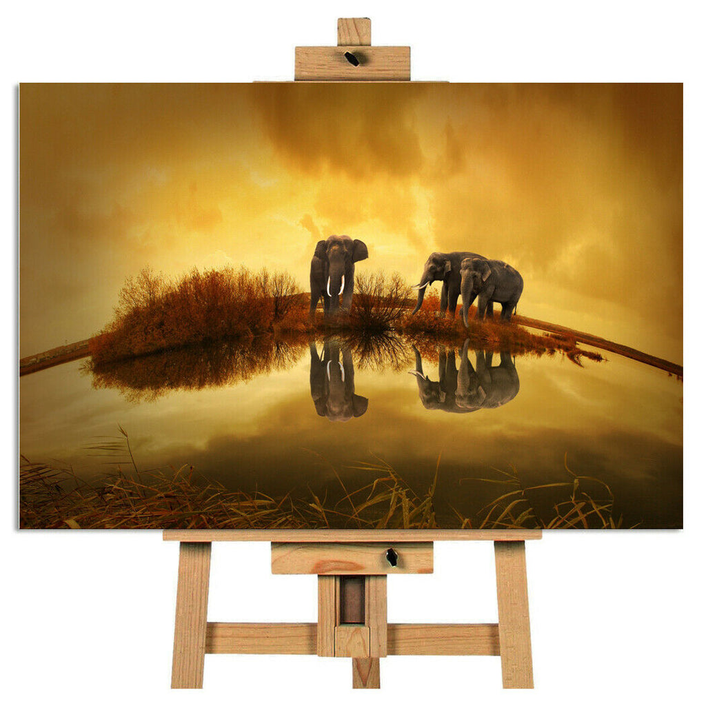 Lovely Thai Elephants Canvas Picture Wall Art Print