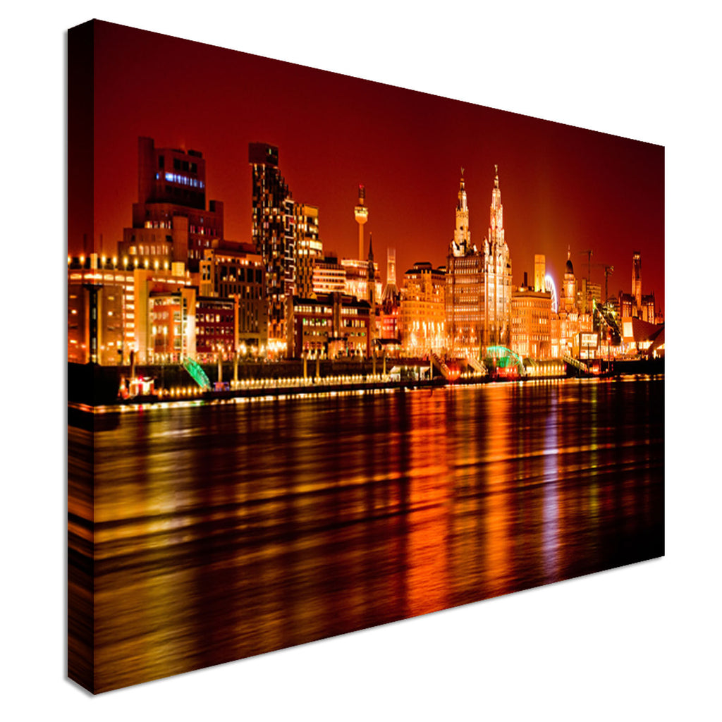 Liverpool Skyline Night Mersey River 40x20  Canvas Wall Art Picture Print