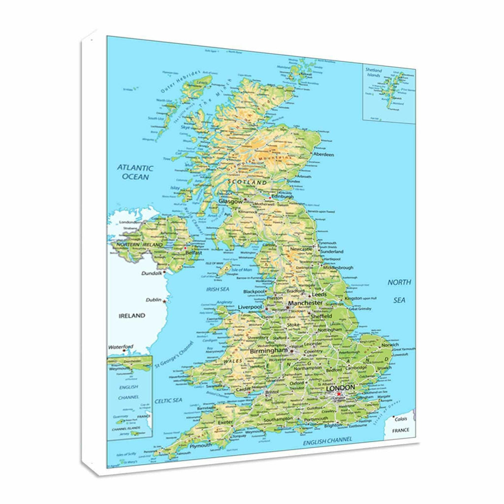 United Kingdom Britain Map Easy To read Canvas Wall Art Picture Print