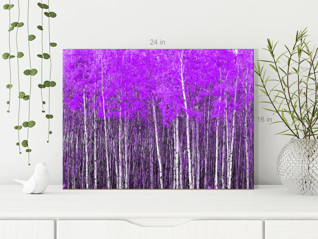 Forest Trees Purple Canvas Wall Art Picture Print