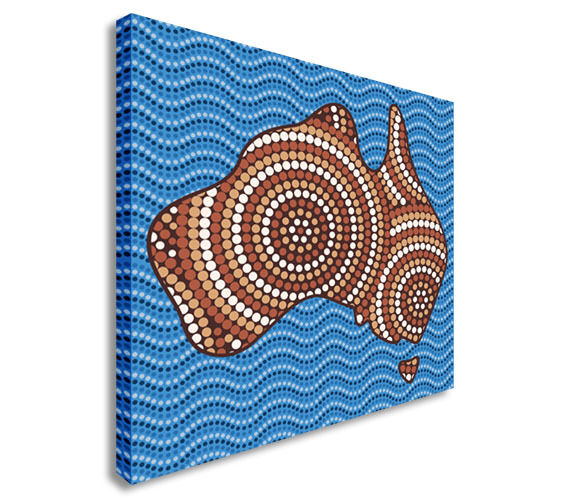 Abstract Aboriginal map dot painting Canvas Wall Art Picture Print
