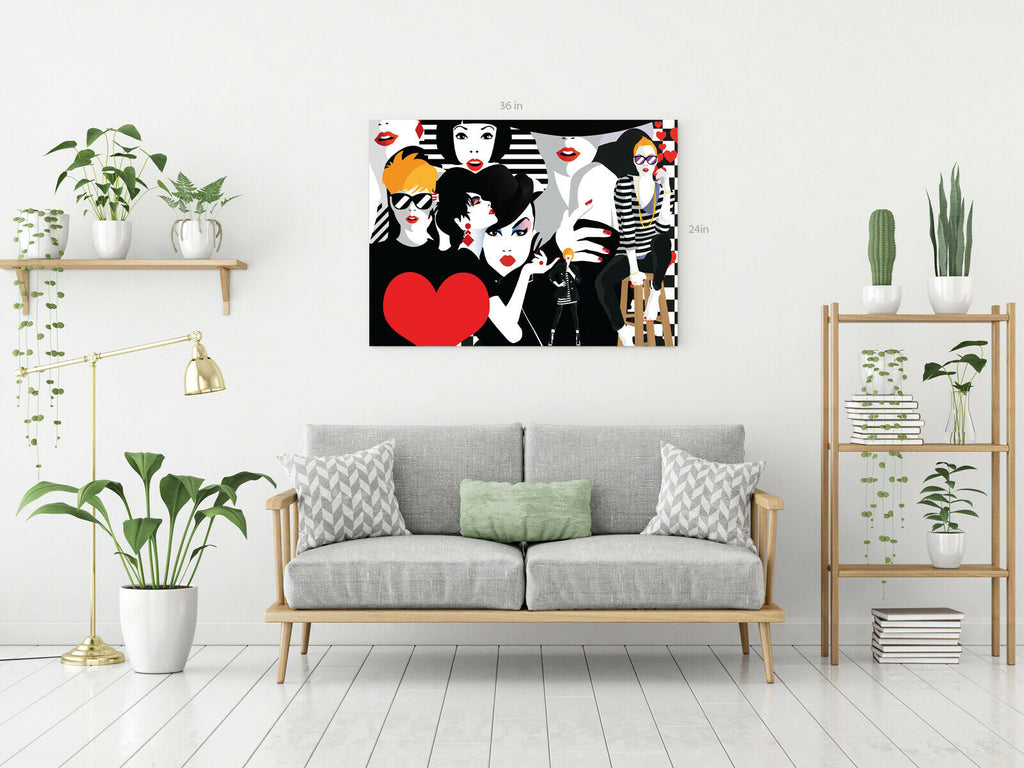 Fashion Girls Canvas Wall Art Picture Print