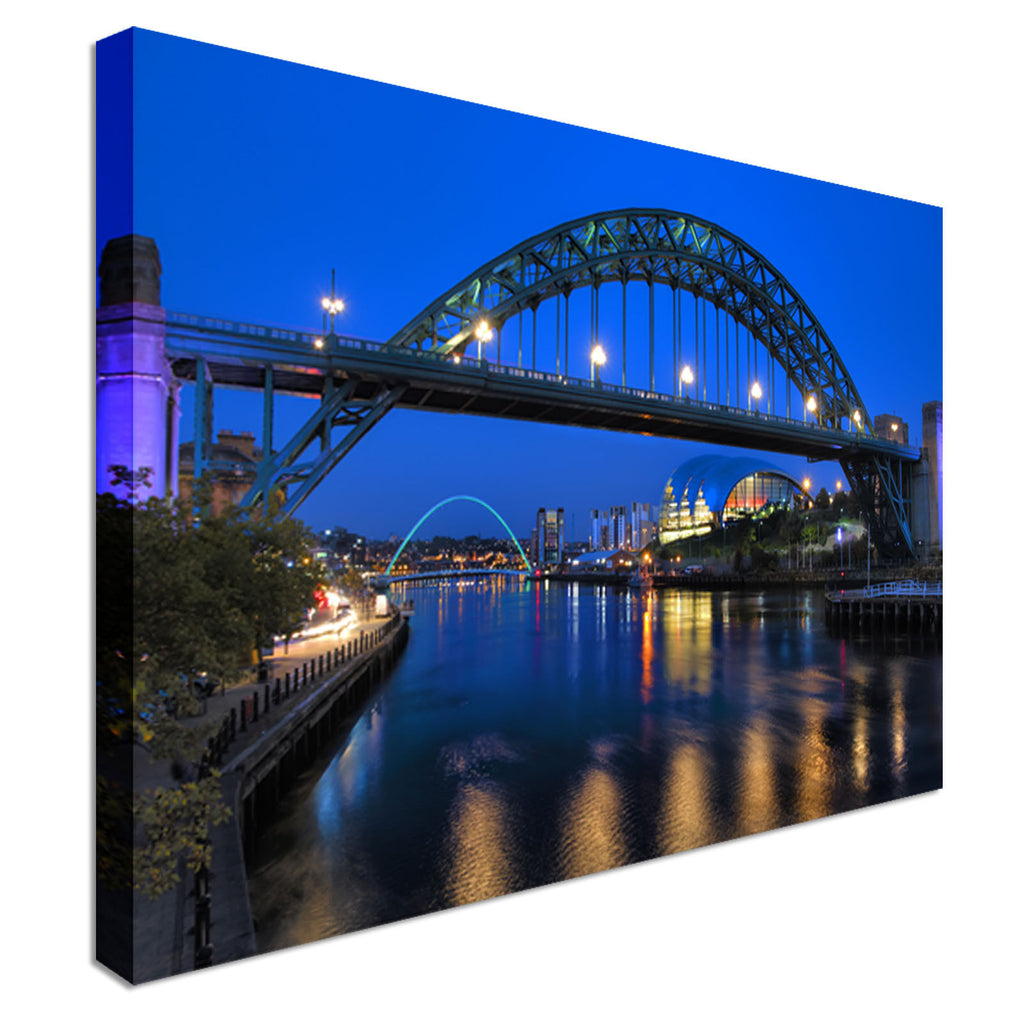 Newcastle Bridge - River Tyne at night Canvas Wall Art Picture Print