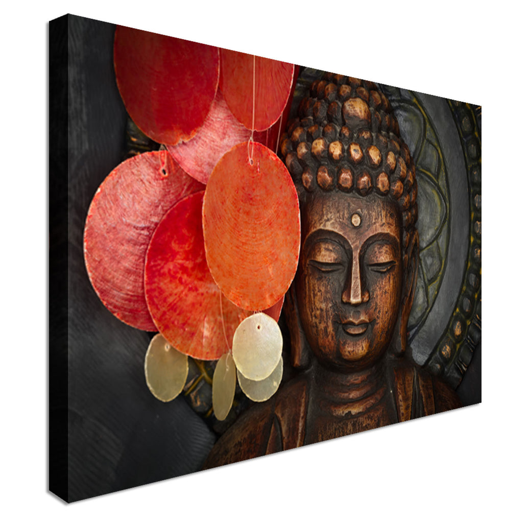 Wood Buddha Statue Canvas Wall Art Picture Print