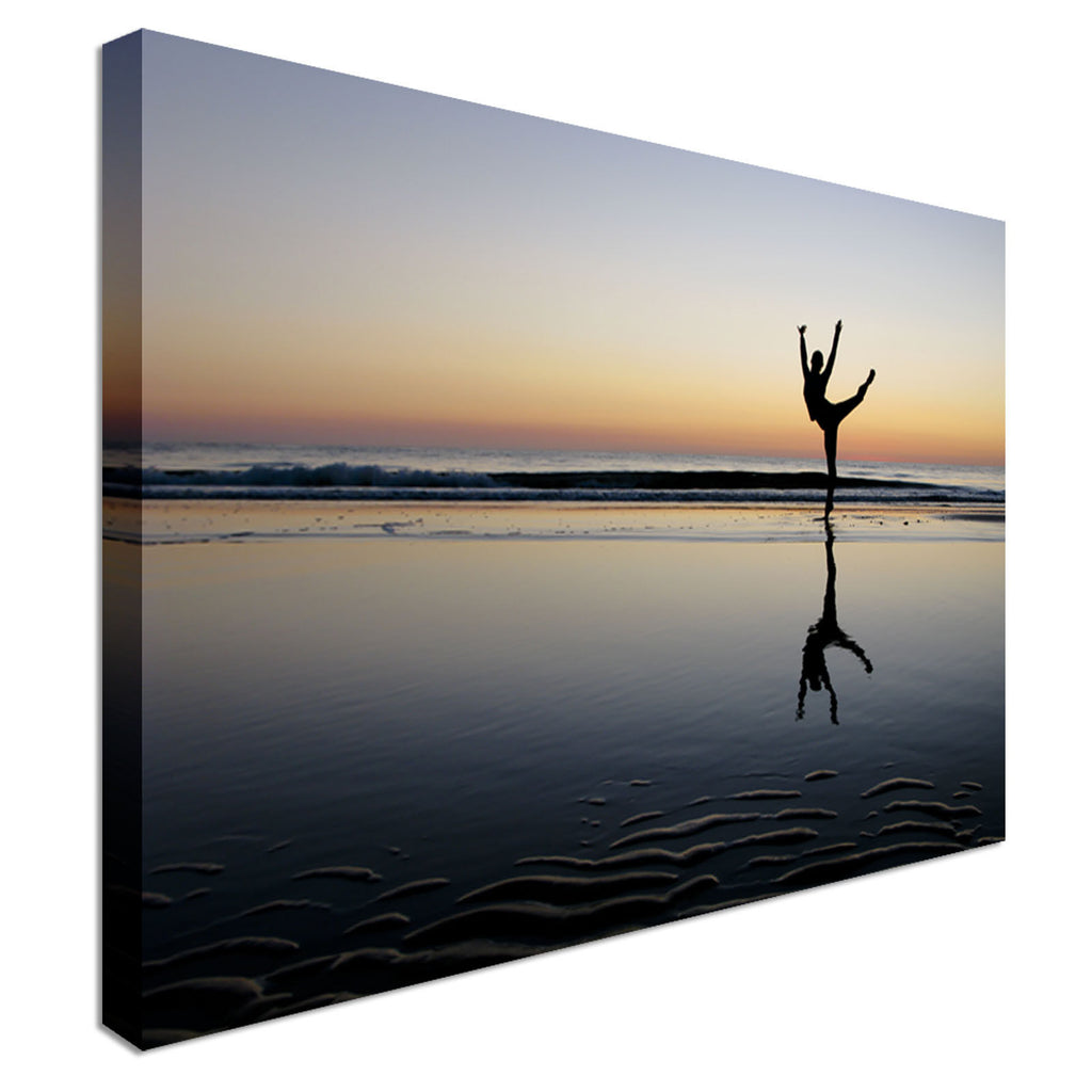 Ballet Posing in the sunset Canvas Wall Art Picture Print