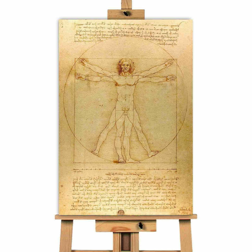 Davinci Man In  A Circle  Canvas Wall Art Picture Print