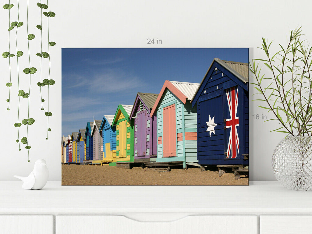 Row Of Beach Huts Canvas Wall Art Picture Print