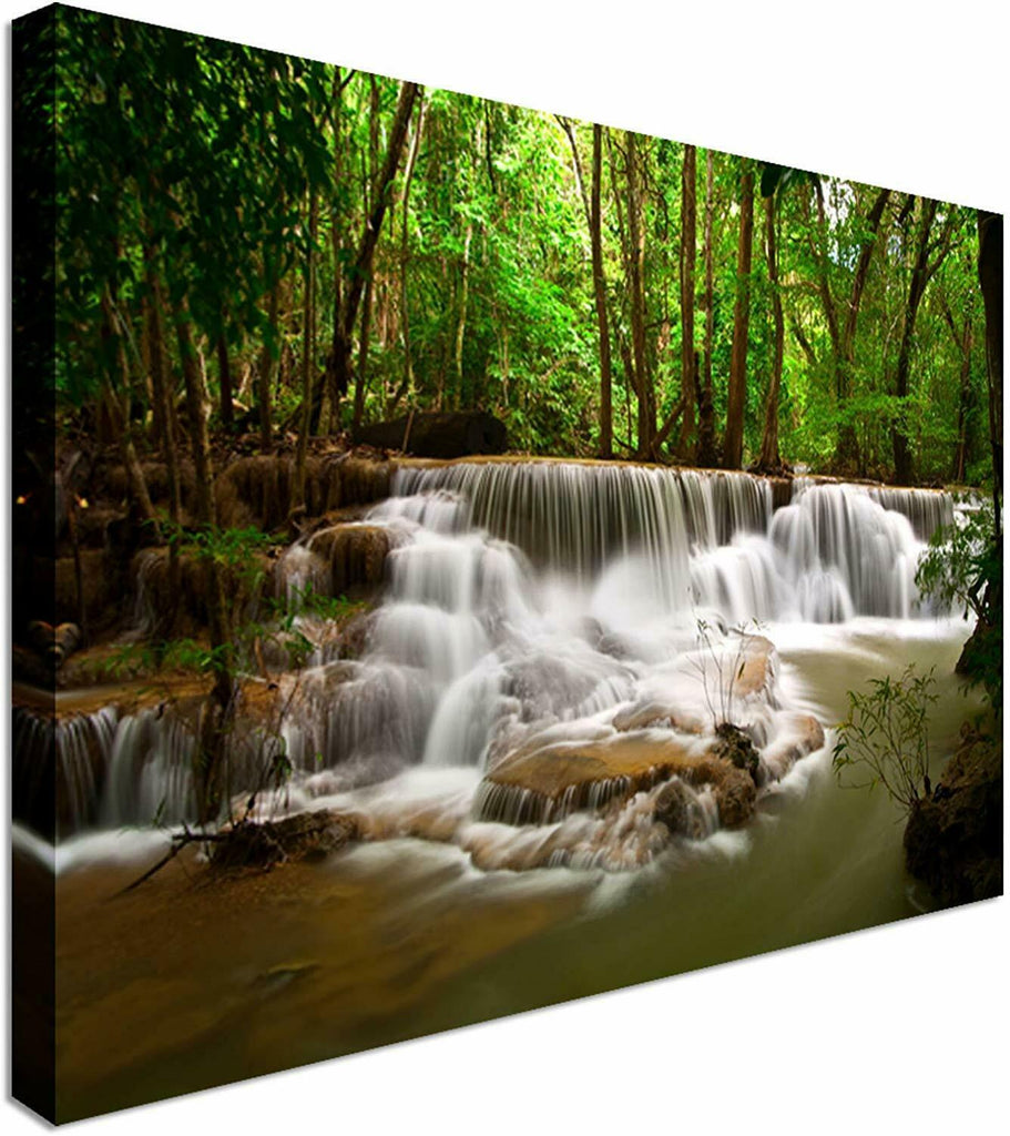 Jungle mini Waterfall & Lake Canvas Wall Art Picture Print