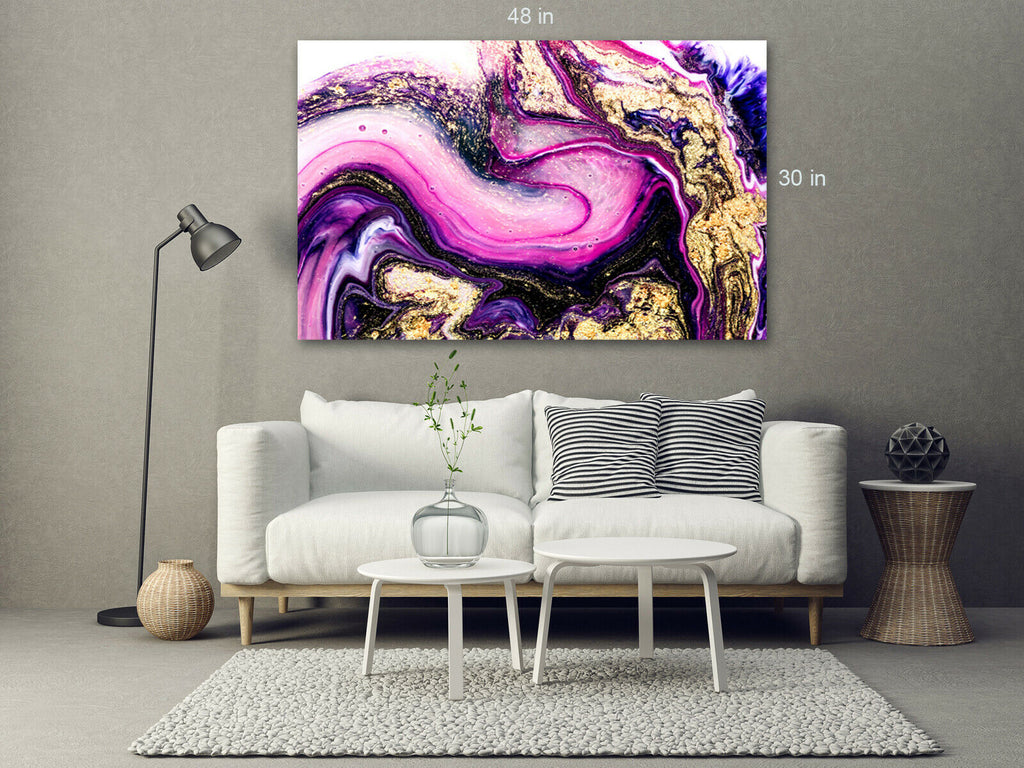 Pink Purple Modern Canvas Wall Art Picture Print