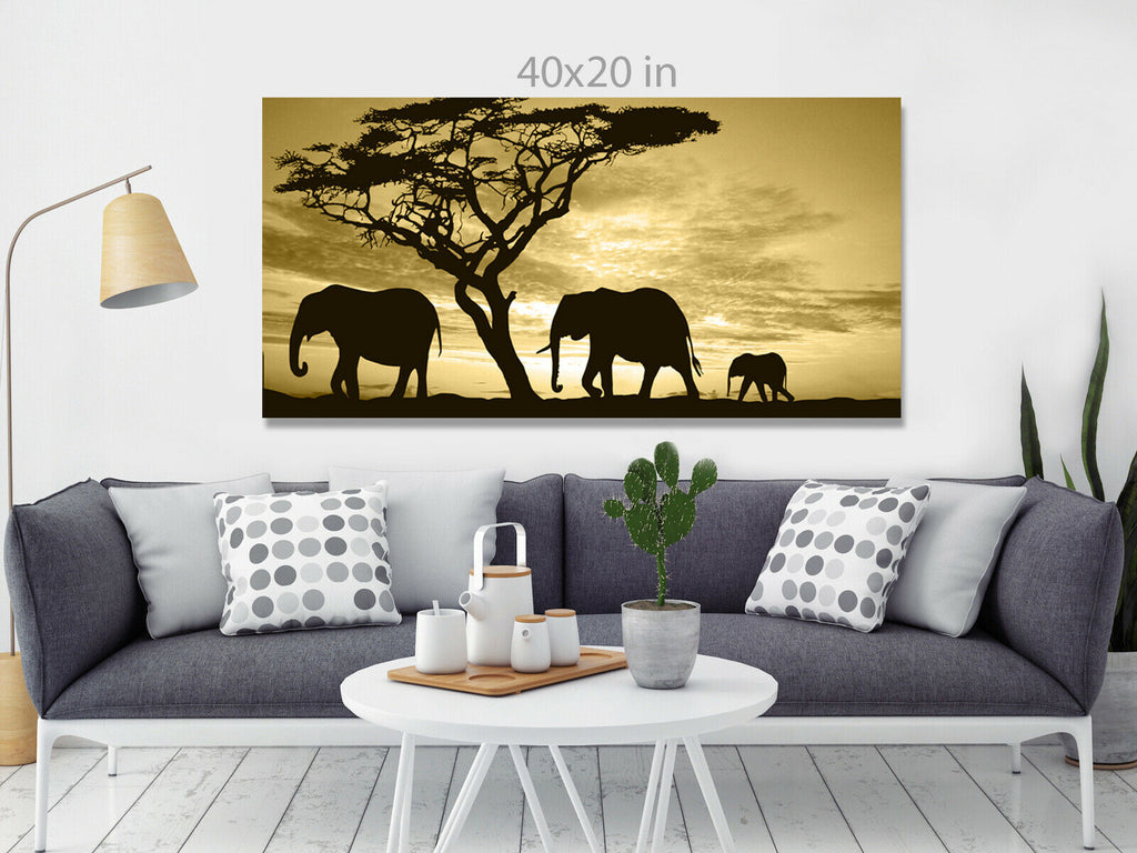 Group of elephants in africa Panoramic Canvas Wall Art Picture Print