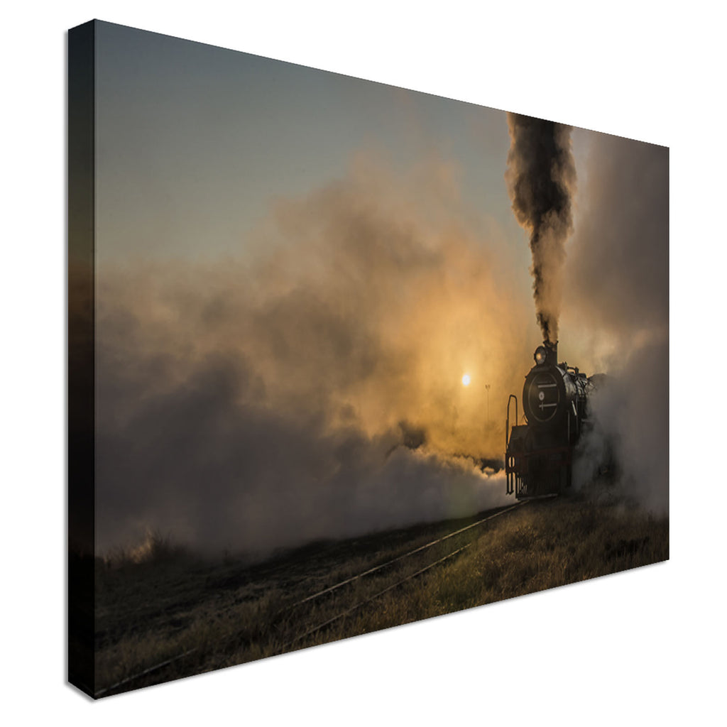 Steam Train Sunset Canvas Wall Art Picture Print