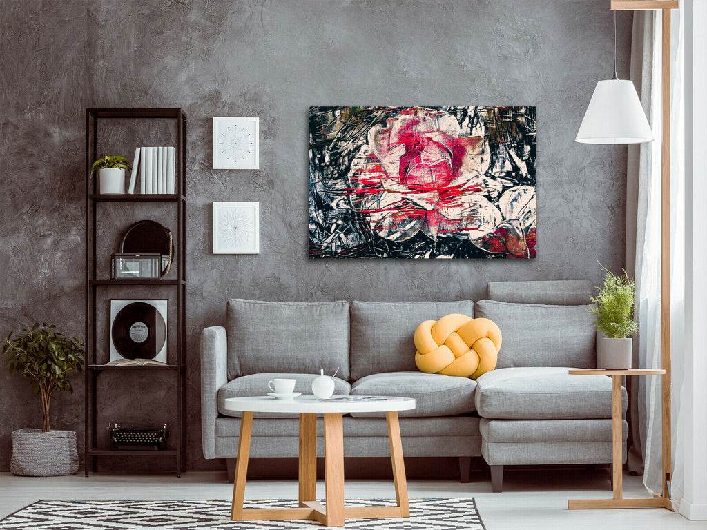 Red and black abstract flowers Canvas Wall Art Picture Print