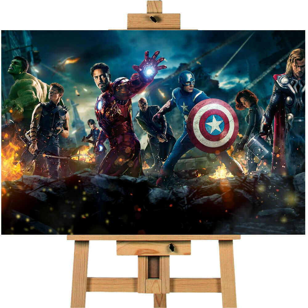 Avengers Assemble Action Pose Heroes Canvas Print Wall Art