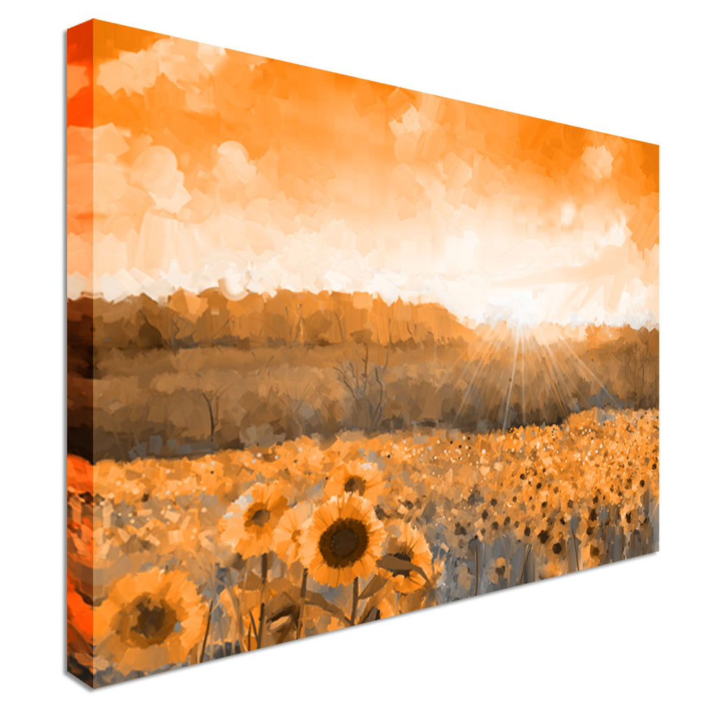 Sunflower Sunset Canvas Wall Art Picture Print
