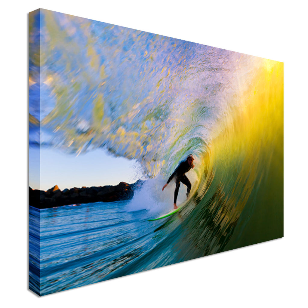 Surfer on Wave at Sunset Canvas Wall Art Picture Print