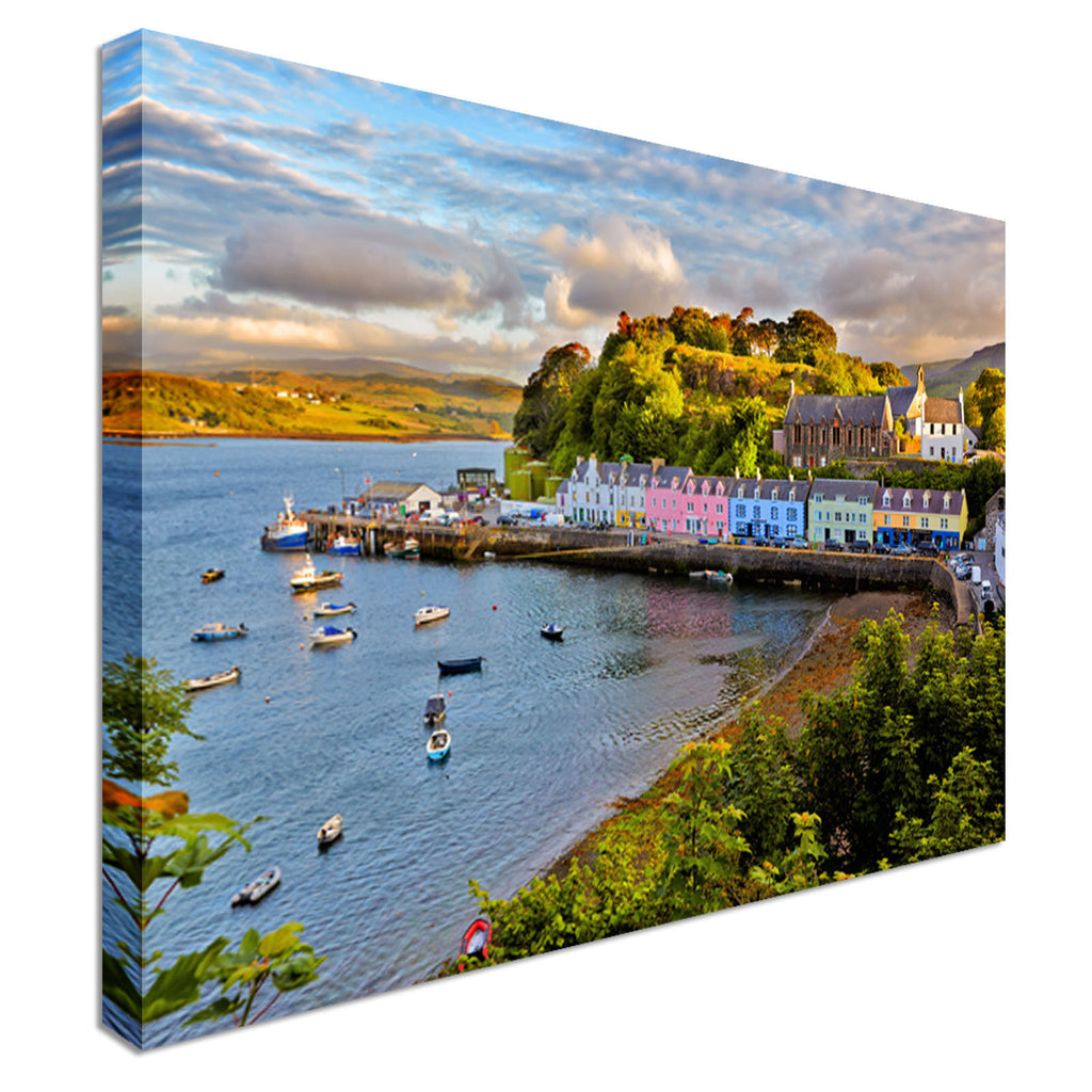Portree, sunset, Isle of Skye Scotland Canvas Wall Art Picture Print