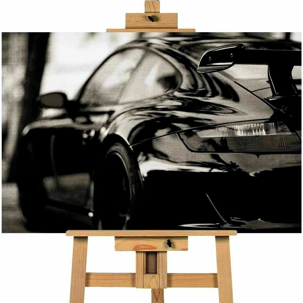 Porsche In Black Car  Canvas Wall Art