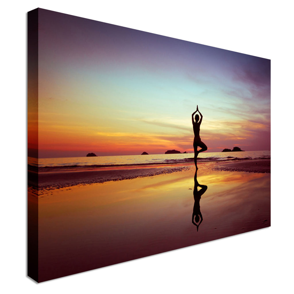 Yoga on beach at sunset Canvas Wall Art Picture Print