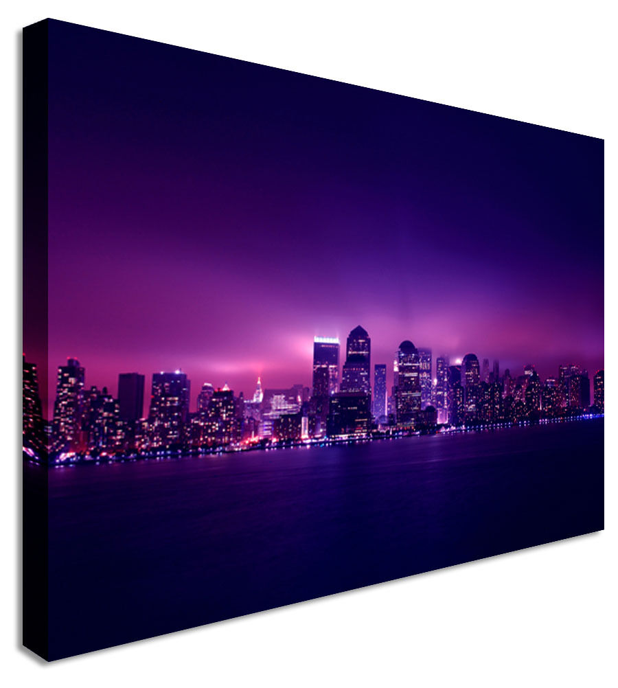 New York Purple Rain Clouds Canvas Wall Art Picture Print