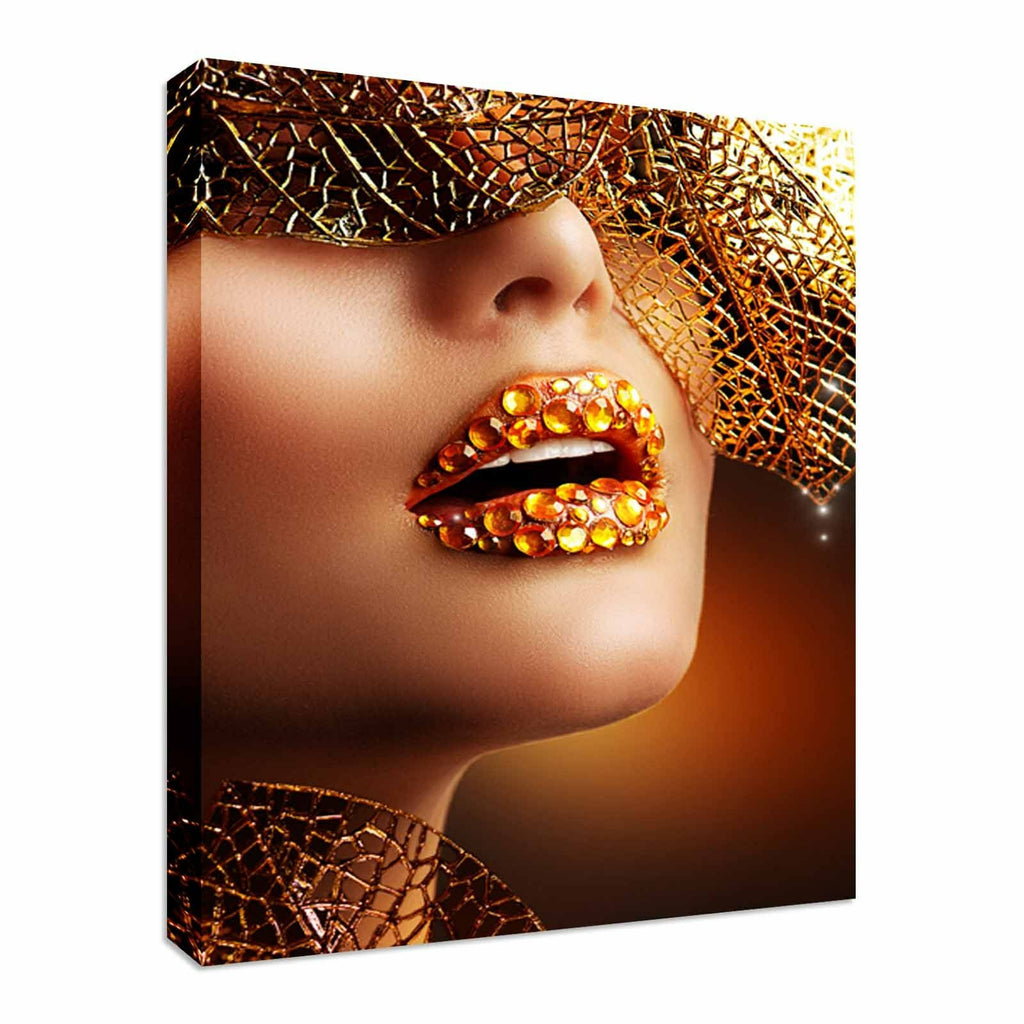 Fashion shot Gold Sparkled lips Canvas Wall Art Picture Print