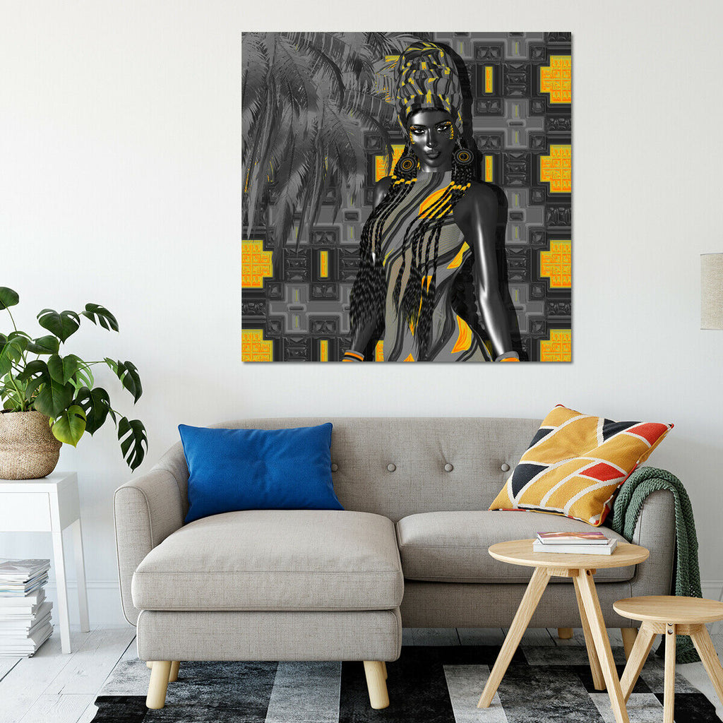 African American Beauty Canvas Wall Art Picture Print