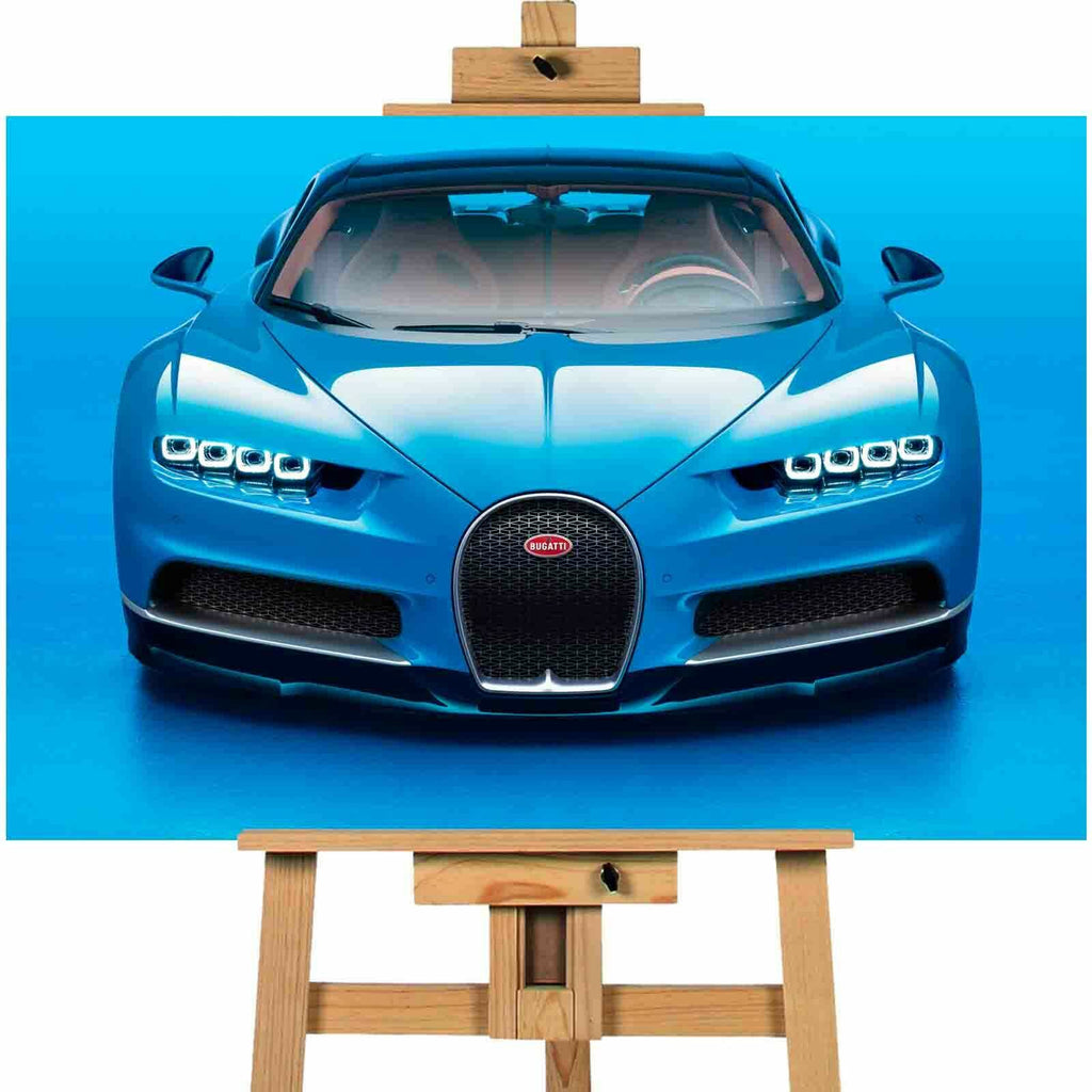 Bugatti chiron  blue canvas wall art print