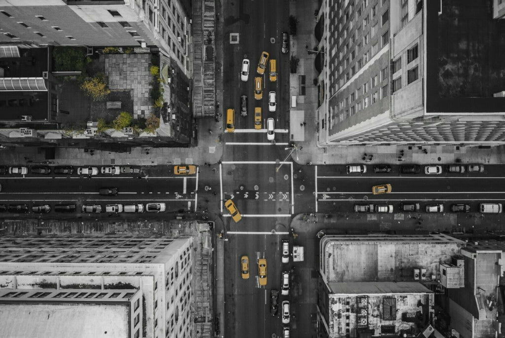 New York From Above Yellow Taxi  Canvas Wall Art Picture Print
