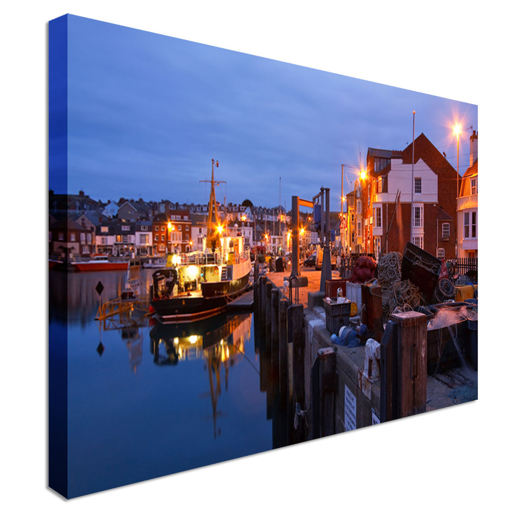 Fishing harbour in Weymouth Canvas Wall Art Picture Print