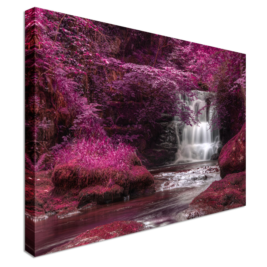 Purple Secret Waterfall Canvas Wall Art Picture Print