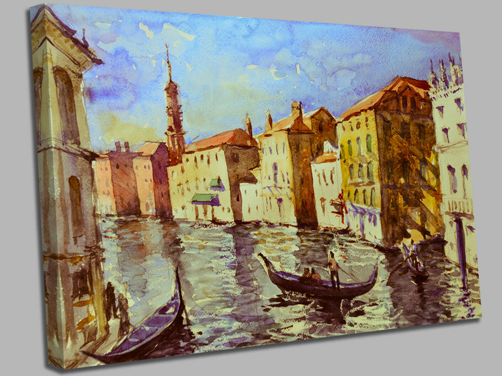 Venice Nice Watercolour  Canvas Wall Art Picture Print