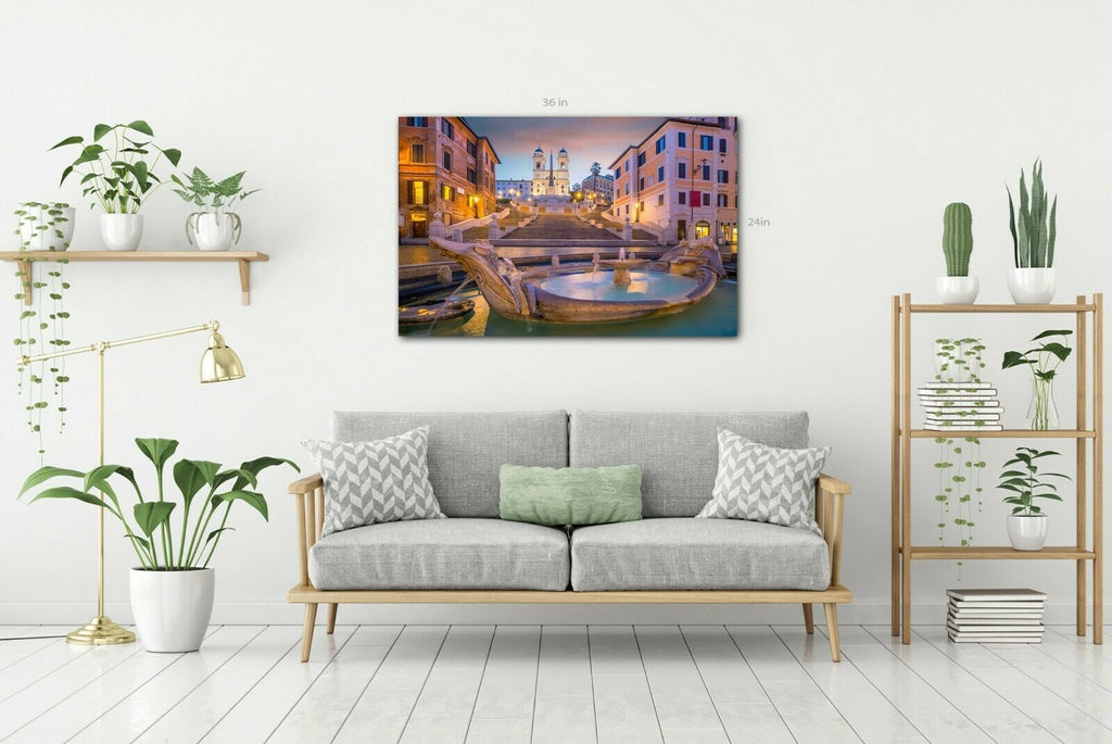 Rome The Spanish Steps Canvas Wall Art Picture Print