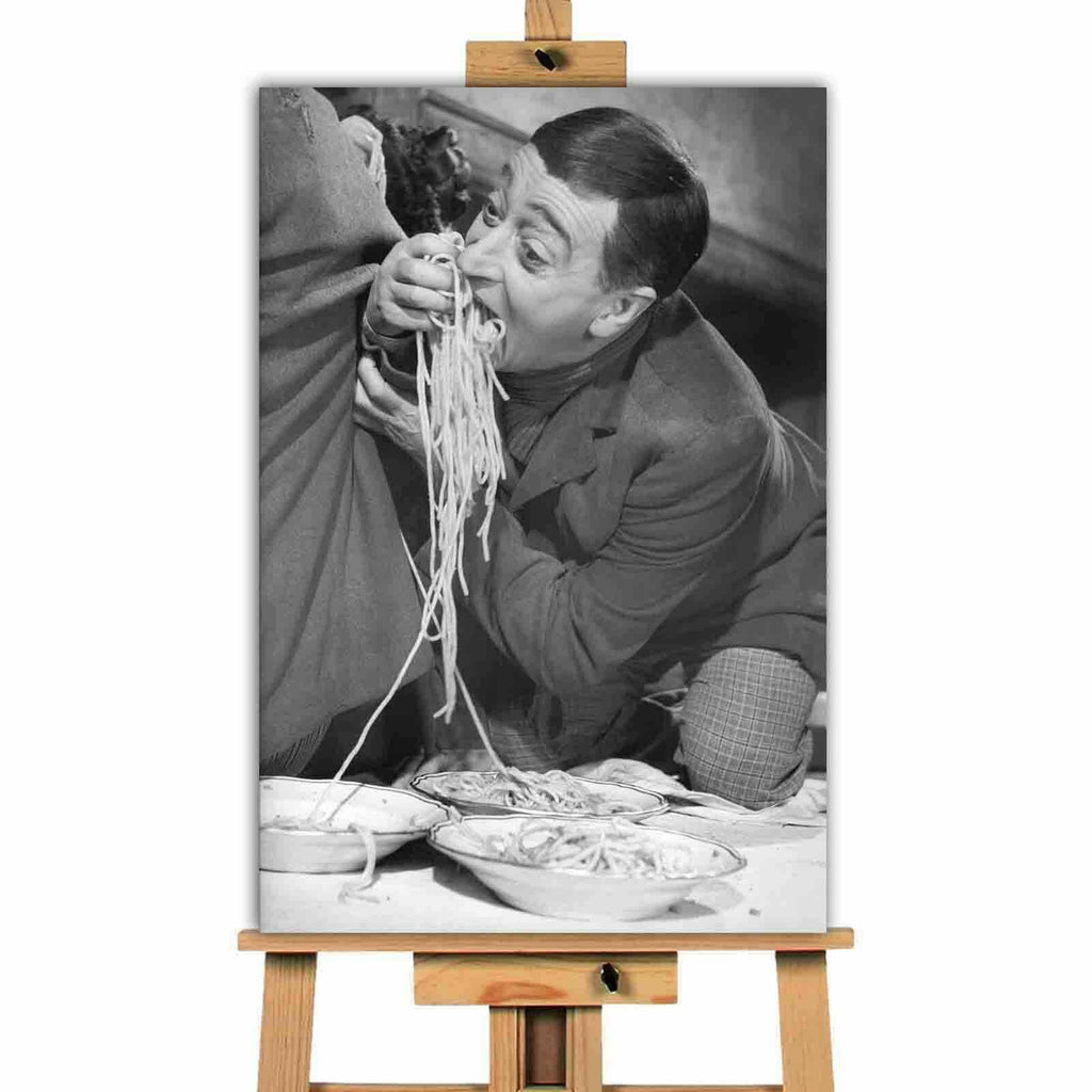 Funny Man Eating Pasta landscape canvas wall art print