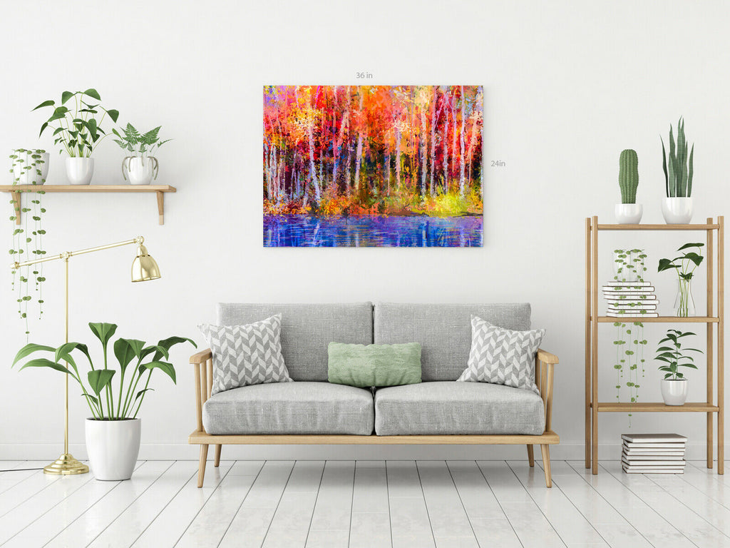 Modern Trees Forest Colours Canvas Wall Art Picture Print