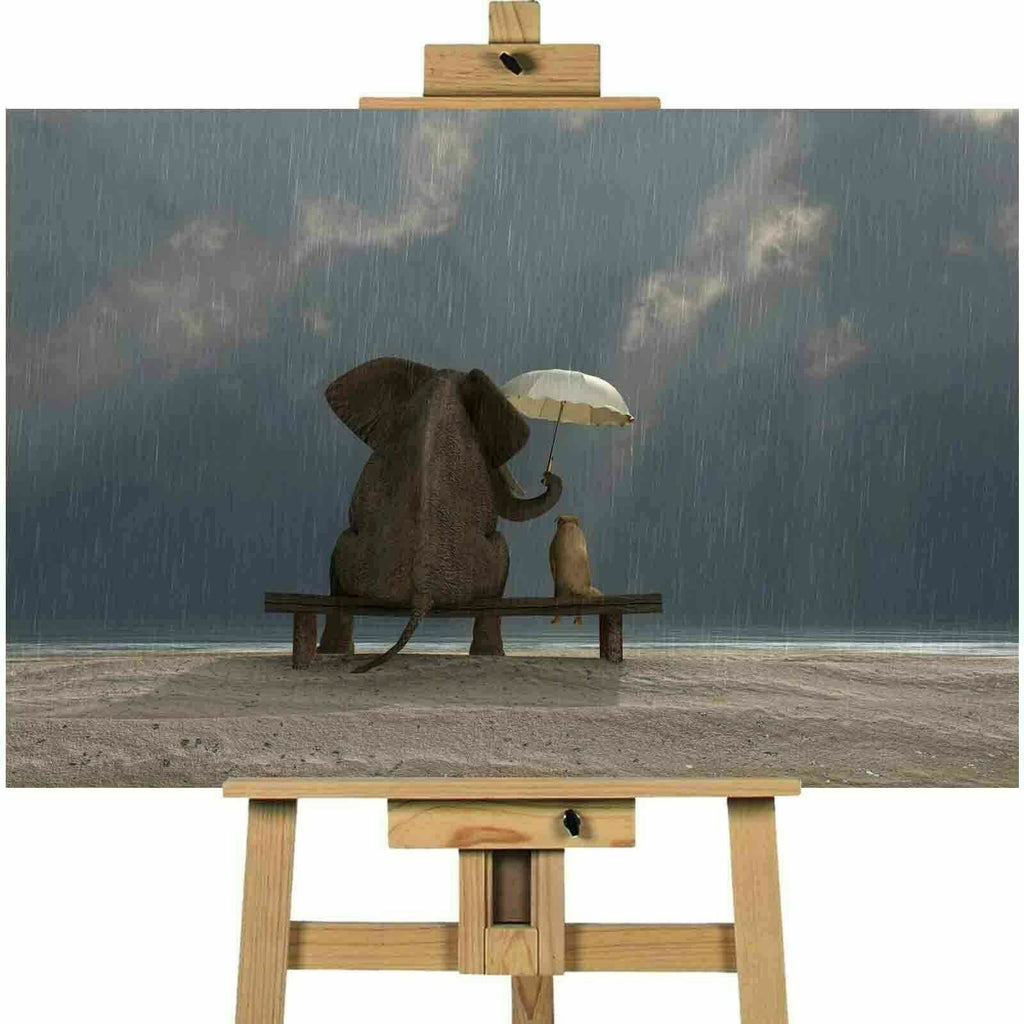 Elephant and Dog sitting in the rain Canvas Art Print Wall Art