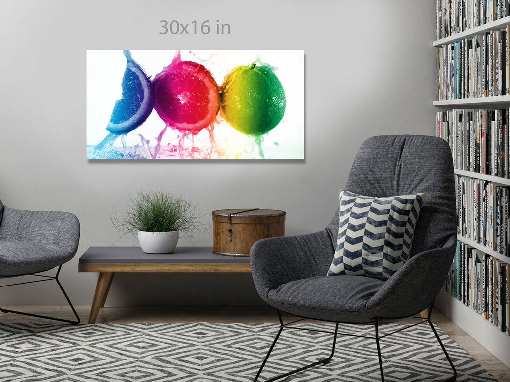 colorful juice splash on orange Panoramic Canvas Wall Art Picture Print