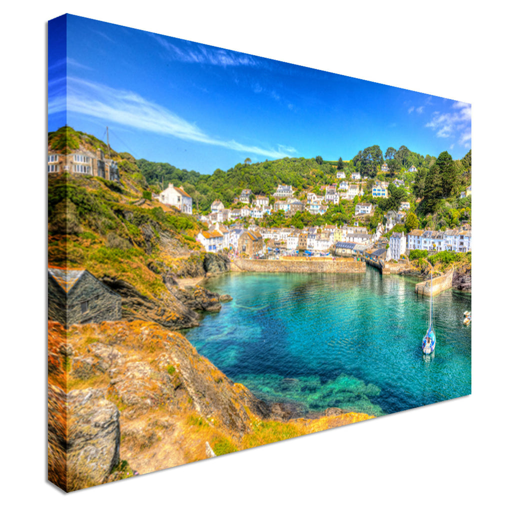 Polperro Harbour Cornwall England  Canvas Wall Art Picture Print