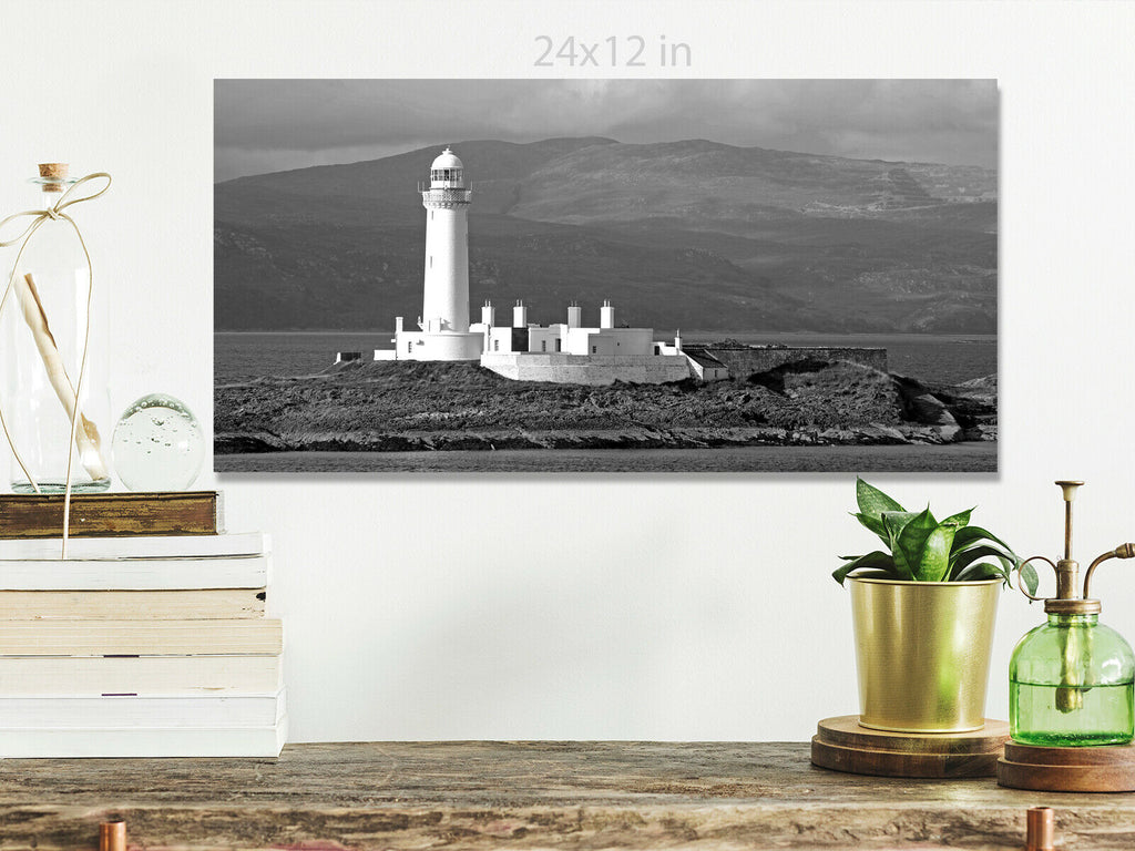 Lighthouse near Oban  Scotland panoramic view Canvas Wall Art Picture Print